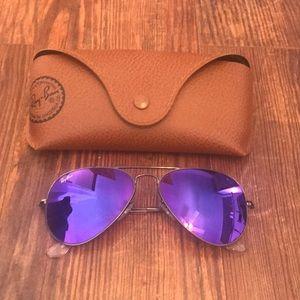 Ray-Ban Aviator Sunglasses- Dark Purple/Gunmetal